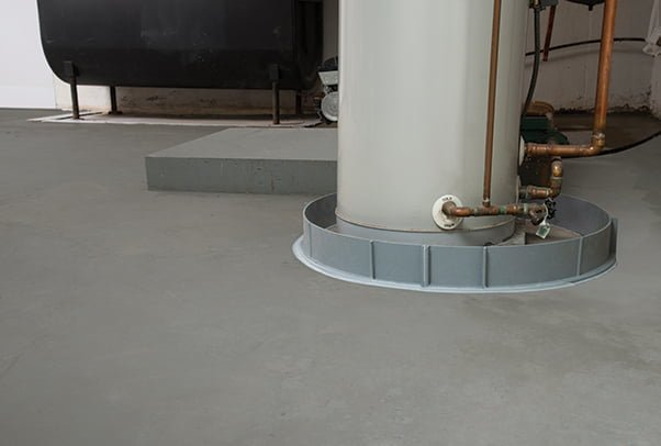 Example of flood ring product around water heater