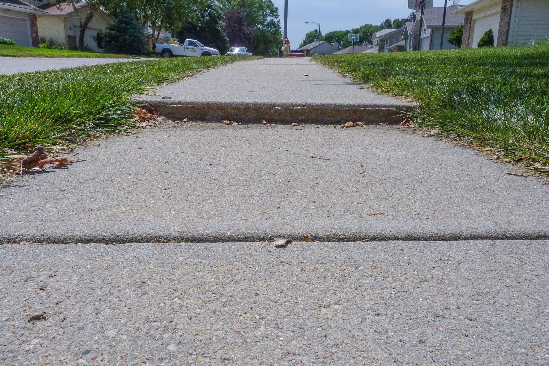 Uneven sidewalk example
