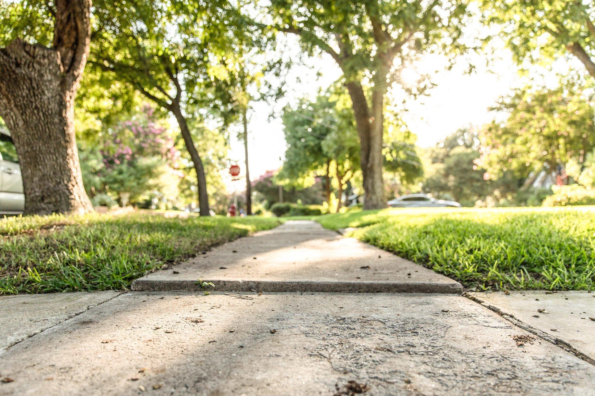 Sunken sidewalk example