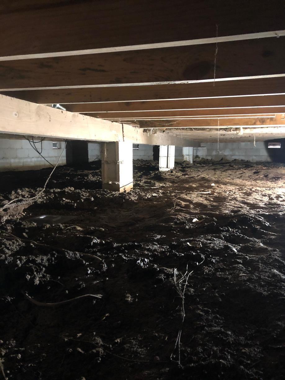 The floor system was designed properly at during the original construction. With ongoing moisture the floor system started to sag.