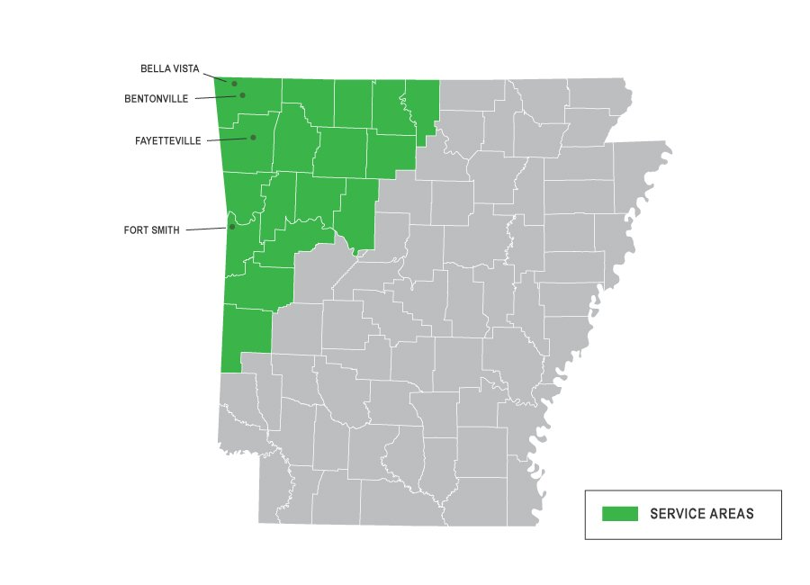 Arkansas Map of Services for Vesta Foundation Solutions