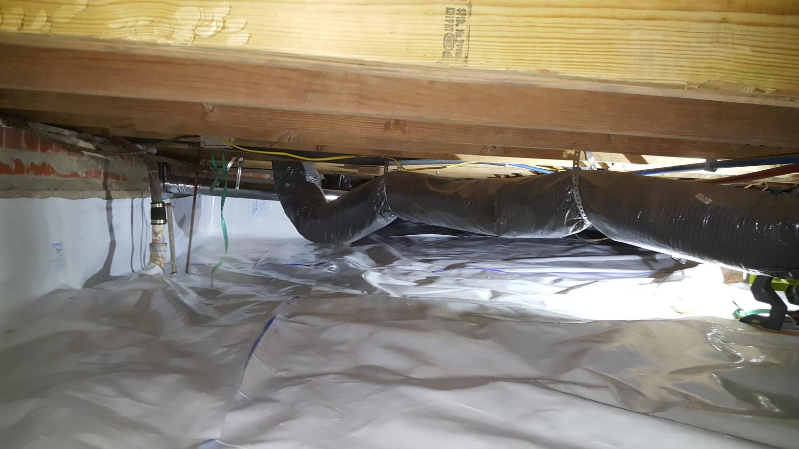 Installation of a CleanSpace system along the dirt floor crawl space of this Oklahoma City, OK