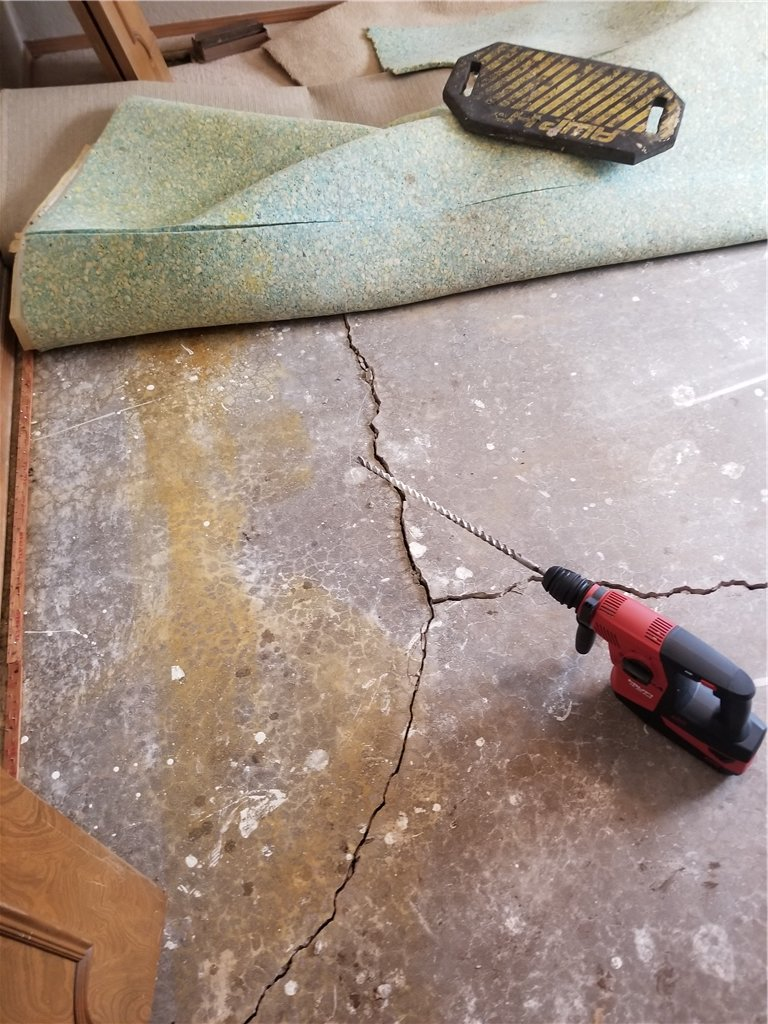 The floor had been piered so poorly on the original installation that the floors began to crack repeatedly due to the ongoing pressure and improper instllation.
