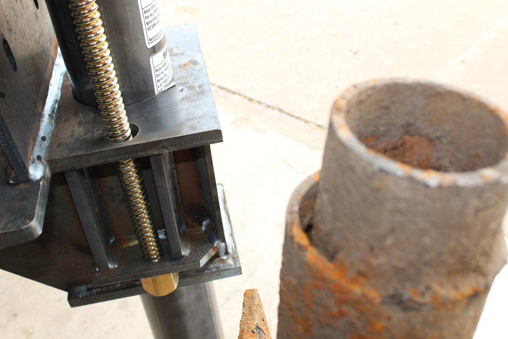 The FSi Push pier is lifted using brass coil rods that last longer and do not corrode with the steel. many other companies weld their piers leaving the weight of your home relying on a 1/4 inch weld at the top of the pier tube.