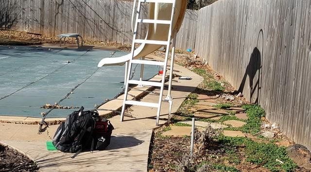Edmond, OK Pool Deck Repair - Before Photo