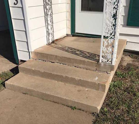 Craked and Sinking Porch - Oklahoma City, Ok - Before Photo