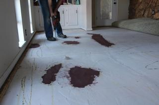 Floor leveling compound was added by previous Homeowners.