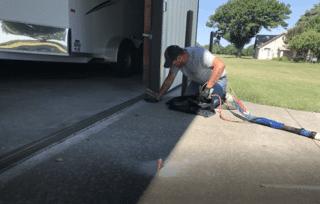 Installation in progress of concrete leveling foam
