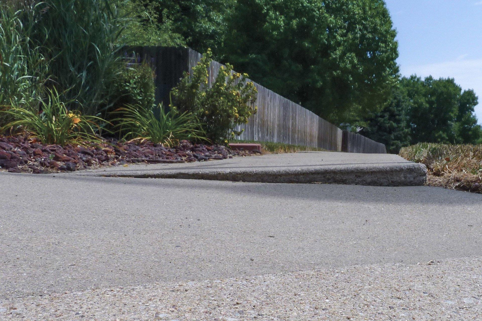 Example of sunken concrete on a sidewalk