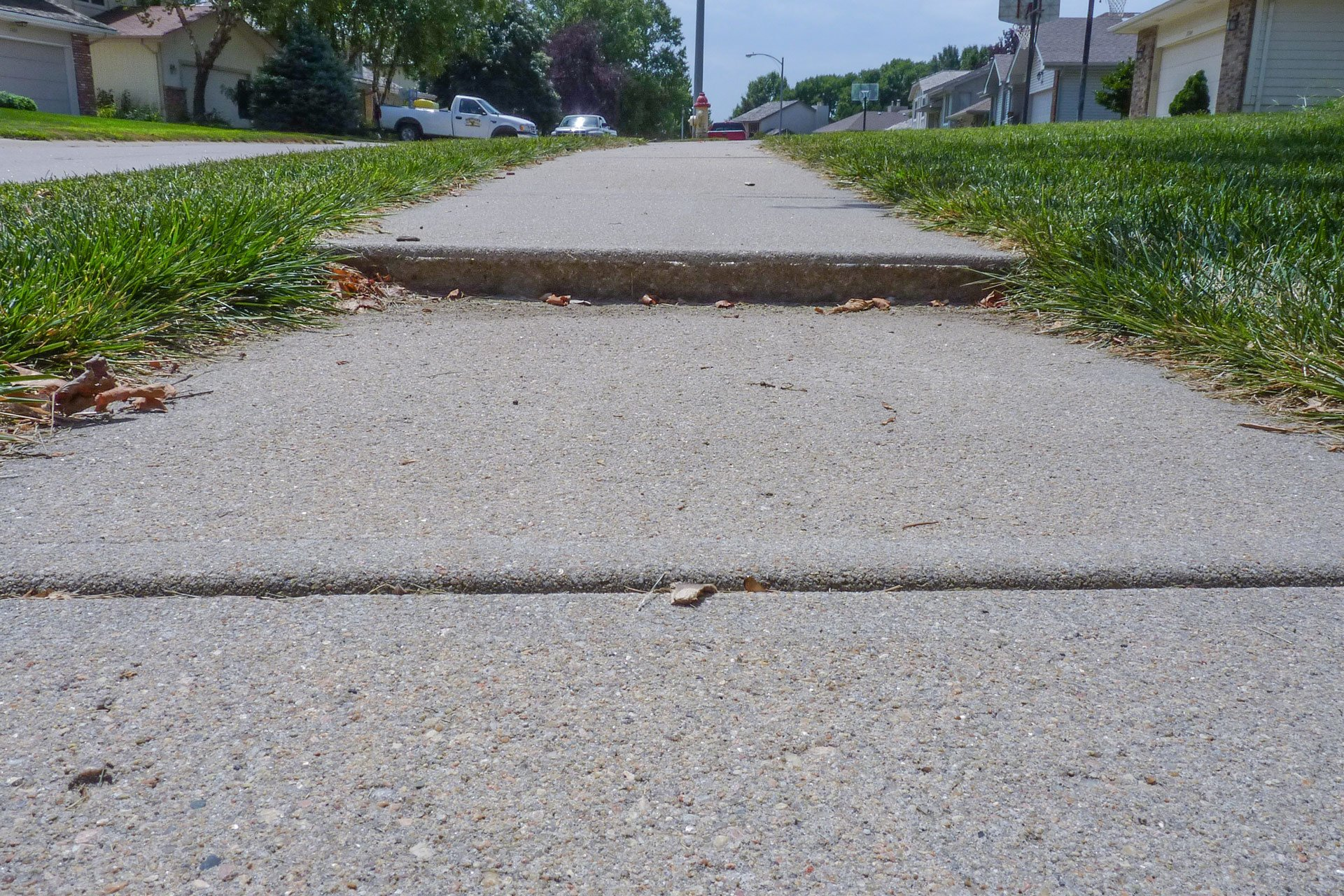 Uneven sidewalk example