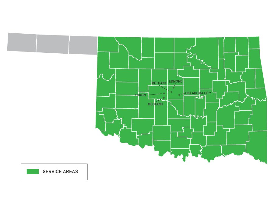 Oklahoma Map of Services for Vesta Foundation Solutions